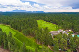 Aerial photo of golf course at Forest Highlands.