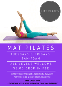 Flyer for mat pilate event at Continental Country Club in Flagstaff, AZ.