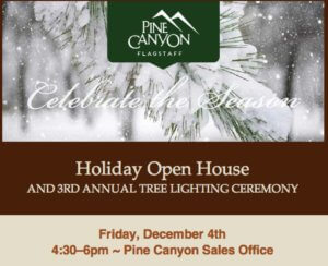 Open house flyer for Pine Canyon in Flagstaff, AZ.
