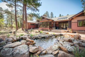 Exterior shot with rock pond at 2000 W Museum Trail Flagstaff AZ