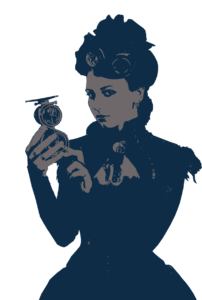 Woman with a timepiece.